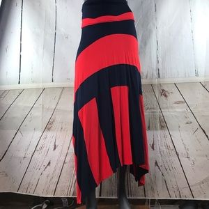 Gap asymmetrical blue & red skirt